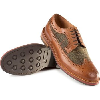 Alan Paine Leather/Tweed Brogue Men's, Tan / Peat, 45 / UK 10.5