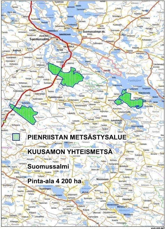 Kuusamon Yhteismetsa Suomussalmen Alueen Kartta Ja